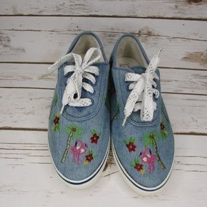 Denim Embroidered Flamingos Palm Trees Sneakers 8M